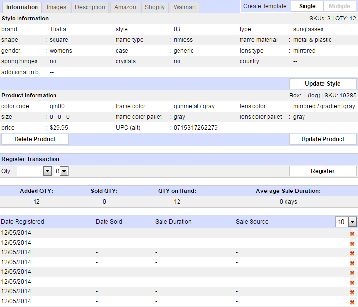 CRM inventory accounting system